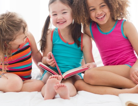 Toddlers Wearing Lucky & Me Underwear While Reading